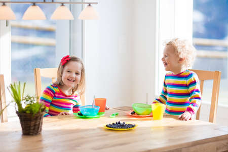 Children enjoying breakfast in sunny kitchen with big windows. Kids eating fruit cereal and berry and drinking milk or juice before kindergarten or preschool. Healthy nutrition for toddler and baby. Stock Photo