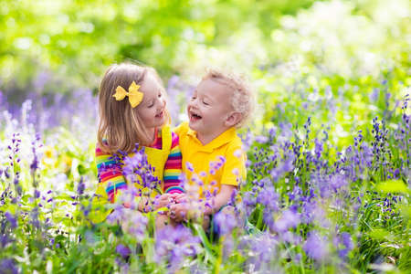 fun in the sun: Kids gardening. Children play outdoors in bluebells meadow. Little girl and boy, brother and sister, work in the garden, planting bluebell flowers, watering blue bell flower bed. Family fun in summer.