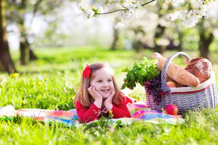 niños comiendo: Los niños pequeños que comen el almuerzo al aire libre. Los niños con cesta de picnic en el jardín de primavera en flor de manzana y cereza árbol. niña de edad preescolar se relaja en la manta de colores listos para comer y beber en el parque de verano