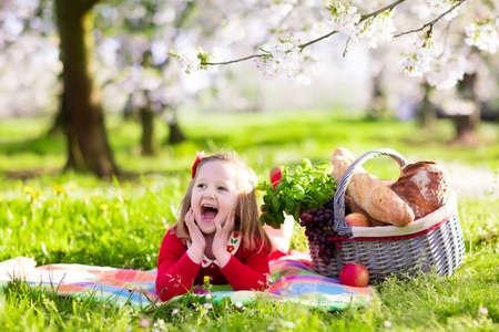 comiendo pan: Los niños pequeños que comen el almuerzo al aire libre. Los niños con cesta de picnic en el jardín de primavera en flor de manzana y cereza árbol. niña de edad preescolar se relaja en la manta de colores listos para comer y beber en el parque de verano