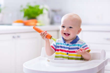 Happy baby sitting in high chair eating carrot in a white kitchen. Healthy nutrition for kids. Bio carrot as first solid food for infant. Children eat vegetables. Little boy biting raw vegetable. Stock Photo