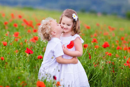 Little curly blond boy and girl play in poppy flower field. Child picking red poppies. Toddler kid in summer meadow. Family vacation in the country. Children pick flowers, hug and kiss. Siblings love.