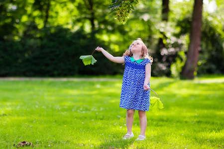 ragazze che ballano: Bambina sveglia che gioca nel parco di sole estivo. Bambino raccolta foglie d'acero. Bambino ragazzo correre e saltare in un bosco. I bambini giocano all'aperto. I bambini corrono. Preschooler nel cortile della scuola il giorno di autunno caldo. Archivio Fotografico