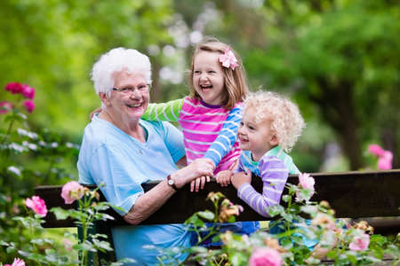 Happy senior lady playing with little boy and girl in blooming rose garden. Grandmother with grand children sitting on a bench in summer park with beautiful flowers. Kids gardening with grandparent. Reklamní fotografie