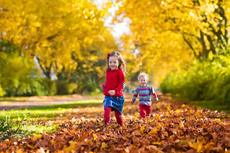 preschooler: Happy children playing in beautiful autumn park on warm sunny fall day. Kids play with golden maple leaves. Stock Photo