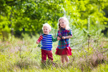 gemelos niÑo y niÑa: Kids playing in autumn park. Children play outdoors on a sunny fall day. Boy and girl running together hand in hand in a forest. Toddler and preschooler pick colorful oak leaf. Family fun outdoor.