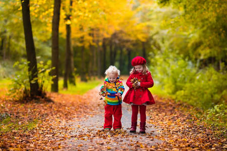 Happy children playing in beautiful autumn park on warm sunny fall day. Kids play with golden maple leaves. Stock Photo