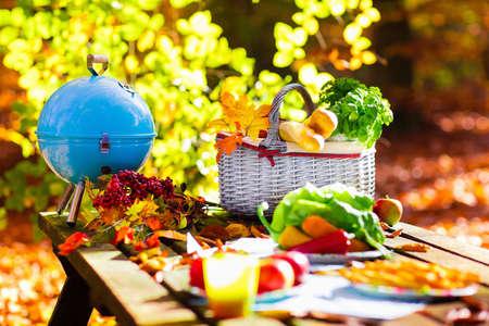 mimbre: Juego de mesa para el almuerzo al aire libre en el hermoso parque soleado de otoño. parrilla de carbón y cesta de picnic con pan baguette, sándwich, frutas y verduras. El cocinar para barbacoa y partido de la parrilla en el otoño. Foto de archivo