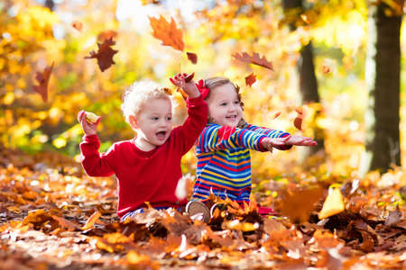 children at play: Happy children playing in beautiful autumn park on warm sunny fall day. Kids play with golden maple leaves. Focus on girl. Stock Photo