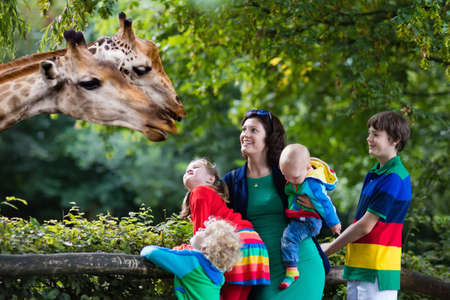 Mother and children, school student, little toddler boy, preschool girl and baby watching and feeding giraffe animals at the zoo. Wildlife experience for parents and kids at animal safari park. Stock Photo