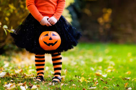 Meisje in heksenkostuum spelen in herfst park. Kind dat pret op Halloween trick or treat. Kinderen truc of behandelen. Peuter jongen met jack-o-lantern. Kinderen met snoep emmer in de herfst bos.