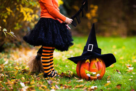 trick or treating: Little girl in witch costume playing in autumn park. Child having fun at Halloween trick or treat. Kids trick or treating. Toddler kid with jack-o-lantern. Children with candy bucket in fall forest.