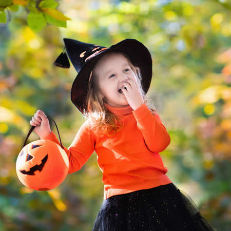 hats: Little girl in witch costume playing in autumn park. Child having fun at Halloween trick or treat. Kids trick or treating. Toddler kid with jack-o-lantern. Children with candy bucket in fall forest.