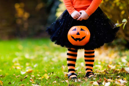 Little girl in witch costume playing in autumn park. Child having fun at Halloween trick or treat. Kids trick or treating. Toddler kid with jack-o-lantern. Children with candy bucket in fall forest. Imagens - 62624183