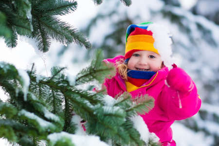 Child playing in snowy forest. Toddler kid holding an icicle outdoors in winter. Fir tree under snow. Christmas vacation for family with young children. Little girl in colorful jacket and knitted hat.