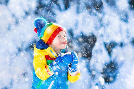 Children play in snowy forest. Toddler kid outdoors in winter. Little boy in colorful jacket and hat playing in snow. Christmas vacation for family with young children. Funny toddler catching snowflakes, eating snow.