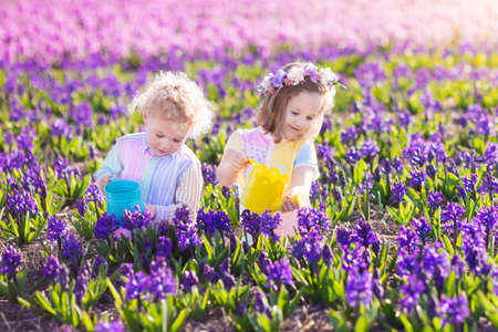 garden flowers: Children planting spring flowers in sunny garden. Stock Photo