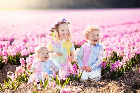 dutch girl: Three children playing in beautiful hyacinth flower field.