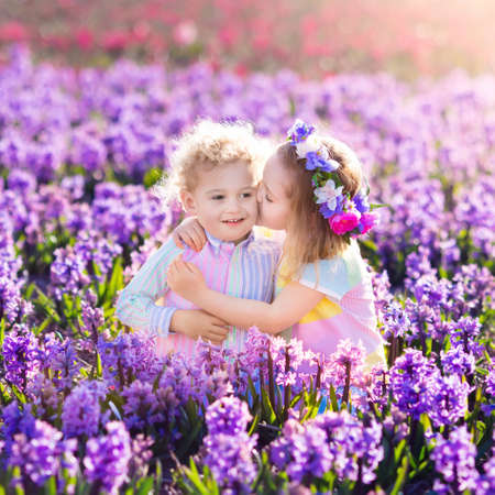 dutch girl: Kids gardening. Children play outdoors in hyacinths meadow. Little girl and boy, brother and sister, work in the garden, planting hyacinth flowers, watering hyacinth flower bed. Family fun in summer.