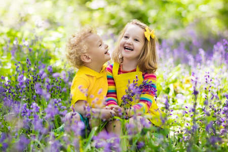 Kids with bluebell flowers. Boy and girl gardening. Children play outdoor in bluebells meadow. Brother and sister work in the garden, plant and water blue bell flower bed. Family fun in summer forest.