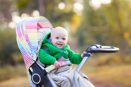 stroll: Baby in stroller on a walk in autumn park. Adorable little boy in green jacket sitting in colorful pushchair under warm blanket. Fall outdoor fun for kids. Child in buggy on winter stroll.