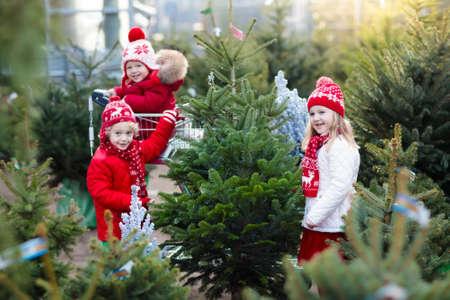 Famille choisissant l'arbre de noel. Les enfants choisissent l'arbre de Noël de Norvège fraîchement coupé au lot extérieur. Les enfants achètent des cadeaux à la foire d'hiver. Achat de garçon et de fille pour la décoration de Noël au marché. Le temps des vacances Banque d'images - 87335527