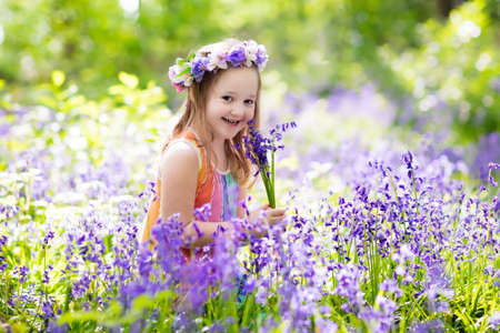 Kid in bluebell woodland. Child with flowers, garden tools and wheelbarrow. Girl gardening. Children play outdoor in bluebells, pick blue bell flower bouquet. Family fun in summer forest.