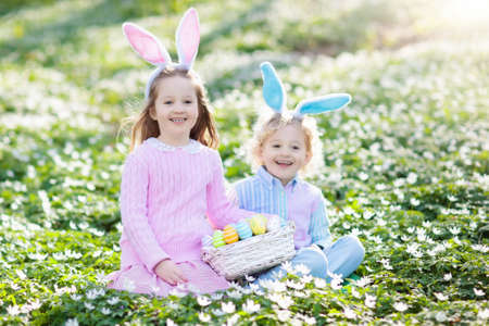 Easter egg hunt in spring garden. Kids searching for colorful eggs and sweets hidden in blooming flower field. Children with bunny ears and egg basket. Family Easter celebration. Boy and girl play. Stock Photo