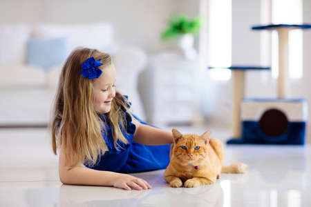 Child playing with cat at home. Kids and pets. Little girl feeding and petting cute ginger color cat. Cats tree and scratcher in living room interior. Children play and feed kitten. Home animals.
