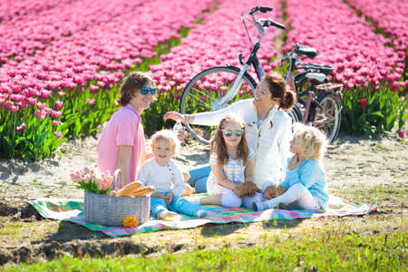 Family picnic at tulip flowers fields in Holland. Young mother and children eating lunch in blooming tulips flower field. Mom and kids travel by bike. Bicycle trip in the Netherlands. Spring vacation. Banque d'images - 119583260