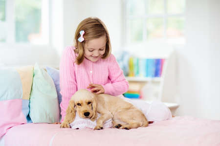 Child playing with baby dog. Kids play with puppy. Little girl and American cocker spaniel on bed at home. Children and pets at home. Kid taking nap with pet. Animal care.