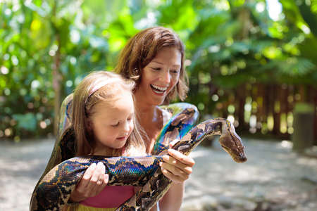 Kids holding python snake in tropical zoo. Family watching exotic reptile. Mother and child with snakes on trip to safari park. Brave kid learning to overcome fear and phobia. Rainforest animals. Banco de Imagens