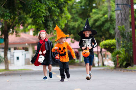 Child in Halloween costume. Kids trick or treat on suburban street. Little boy and girl with pumpkin lantern and candy bucket. Baby in witch hat. Autumn season holiday fun.  Friends play outdoor.