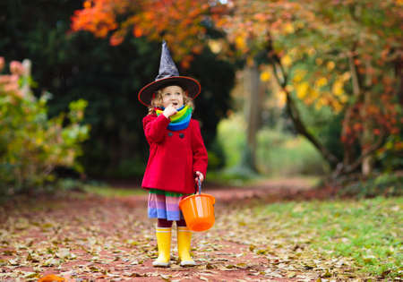 Kids trick or treat on Halloween night. Little girl with pumpkin face candy bucket. Child trick or treating. Kid in scary witch costume with sweets bag.