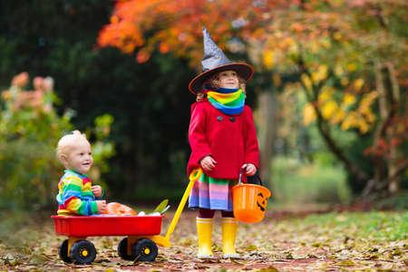 Los niños engañan o tratan en la noche de Halloween. Niña con cubo de caramelos de calabaza. Truco o trato infantil. Niño disfrazado de bruja aterradora con bolsa de dulces. Foto de archivo
