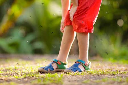 Mücke auf Kinderhaut. Kleiner Junge von Mücken im tropischen Wald angegriffen. Insektenschutzmittel. Vorbeugung von Malaria und Dengue-Fieber. Kind, das im Sommerpark juckende Bissen kratzt.
