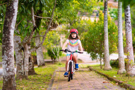 Kids on bike in park. Children going to school wearing safe bicycle helmets. Little girl biking on sunny summer day. Active healthy outdoor sport for young child. Fun activity for kid 스톡 콘텐츠