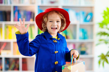 Kids in book character costume. School dress up party. English language and literature study for young children. Reading for primary school kid. Library event. Fun learning.