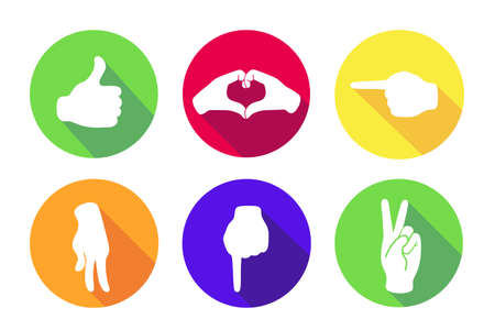 Vector flat set of six icons. Sign with hand.Communication symbol.White hand with gesture on green, red, yellow, orange, blue round background isolated on white.Web button. Mood sticker.