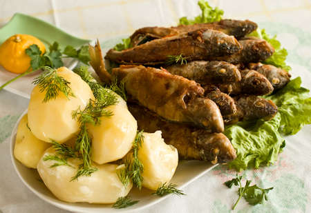 plate of boiled potatoes and fried fish, decorated with dill and lettuce  photo