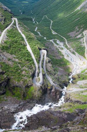 dangerous road: Dangerous road in Norway - Trollstiegen Stock Photo