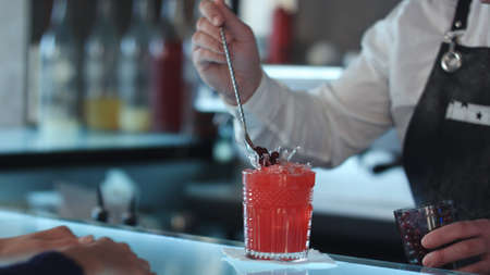 Bartender decorating cocktail red alcoholic cocktail with berries