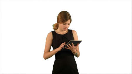 Portrait of a professional business woman with tablet on white background isolated Archivio Fotografico
