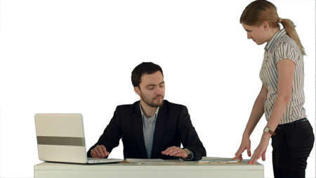 Business people discussing document on white background isolated