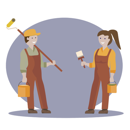house painter: Couple of house painter flat characters with brushes and roller