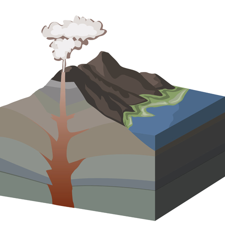 volcanic: Cross section of volcano and formation of volcanic mountains