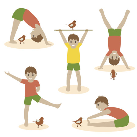 Illustration of cute kids exercising with birdKids diverse of action posesCute kids characters flat