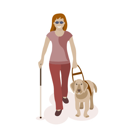 blind woman: Blind woman walking with dog. Vector illlustration.