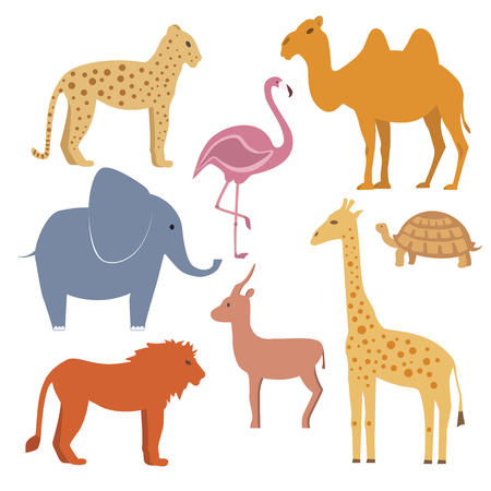 jirafa: animales conjunto de vectores incluyendo jirafa elefante tortuga leopardo le�n flamenco camello gacela. disigne plana