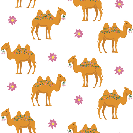 camel: Seamless pattern with  cute camel and flowers
